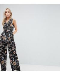 Yumi' - Jumpsuit In Peacock Floral Print - Lyst