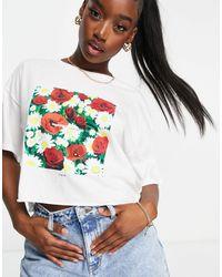 RVCA Super Bloom Oversized Crop T Shirt - White