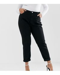 Boohoo Exclusive High Waist Mom Jeans In Black
