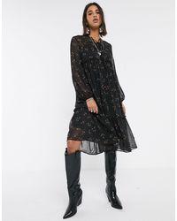 Object - Черное Свободное Платье Миди С Цветочным Принтом -зеленый Цвет - Lyst