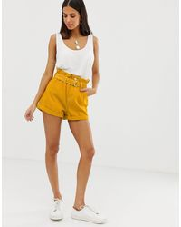 River Island Paperbag Waist Shorts - Yellow