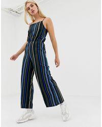 Noisy May Stripe Wide Leg Cami Jumpsuit - Blue