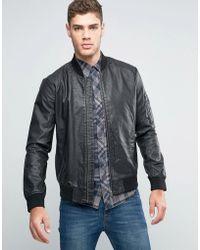 Wrangler Faux Leather Perforated Bomber Jacket - Black