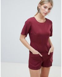 Native Youth Playsuit With Utility Pocket Detail - Red