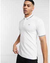 Emporio Armani – Schmal geschnittenes Polohemd mit zwei Zierstreifen - Weiß