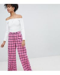 Daisy Street - Wide Leg Trousers In Check - Lyst