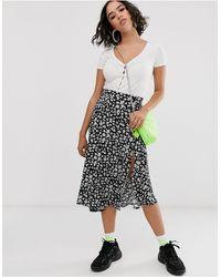 Bershka Floral Print Midi Skirt - Black