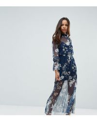 ASOS - Printed Mesh Maxi Dress With Shirred Neck - Lyst