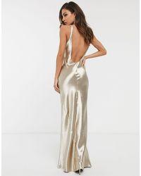 ASOS Scoop Back Bias Cut Satin Maxi Dress - Multicolour