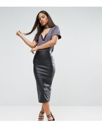 ASOS | Sculpt Me Leather Look Pencil Skirt | Lyst