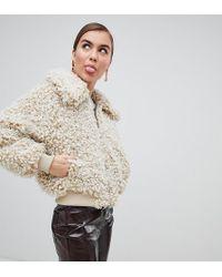 Monki - Zip Front Teddy Jacket In Off White - Lyst