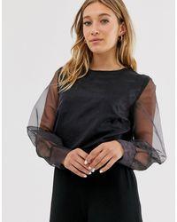 NA-KD Black Pleated Organza Sleeve Blouse