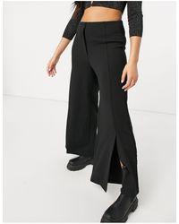Vila Wide Leg Trousers With Slit Front - Black