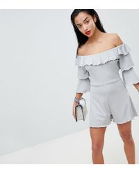 Lost Ink - Frill Front Playsuit With Tiered Sleeves - Lyst