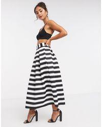 ASOS Striped Scuba Midi Prom Skirt - Multicolour