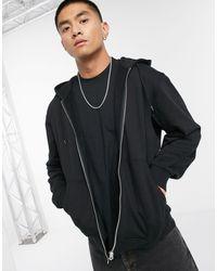 Weekday Sudadera con capucha negra con cremallera estándar - Negro