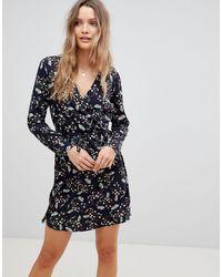 Lavand Wrap Front Dress - Blue