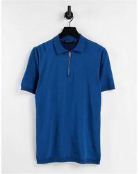 Bolongaro Trevor Knitted Zip Neck Polo Shirt - Blue