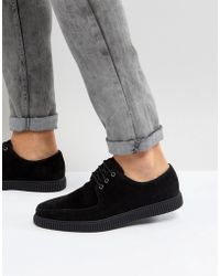 ASOS - Lace Up Creeper Shoes In Black Faux Suede - Lyst