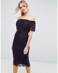 ASOS - Lace Bardot Midi Pencil Dress - Lyst
