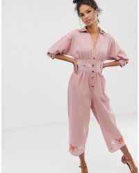 ASOS Jumpsuit aus Leinen mit Stickerei - Pink