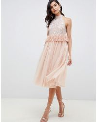 ASOS - Embellished Sequin Tulle Midi Dress With Faux Feather Trim - Lyst