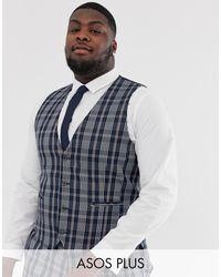 ASOS Plus Wedding Skinny Suit Waistcoat - Blue