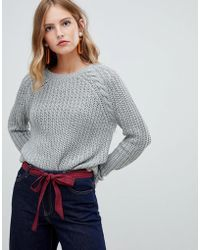 ONLY - Cable Knit Jumper With Shoulder Detail - Lyst