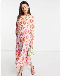 Closet Vestito al polpaccio a maniche lunghe con stampa a pois color pastello a contrasto - Multicolore