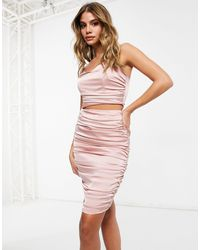 Missguided Co-ord Body-conscious Midi Skirt With Ruched Detail - Pink