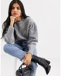 & Other Stories Embellished Puff Sleeve Sweater - Gray