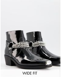 ASOS Wide Fit Cuban Heel Western Chelsea Boots - Black