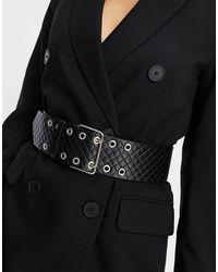 ASOS Cintura larga a punta doppia con fibbia e design trapuntato - Nero