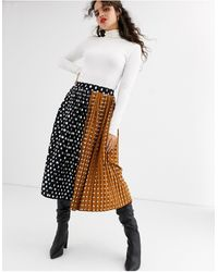 UNIQUE21 Contrast Polka Dot Pleated Skirt-multi - Black