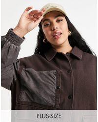 Collusion Коричневая Куртка Из Выбеленной Плотной Ткани Plus-бежевый - Коричневый