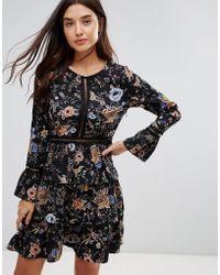 Liquorish - Floral Print Skater Dress With Tiered Skirt - Lyst