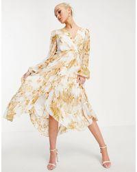 Forever New Ruffle Wrap Midi Dress - Multicolour