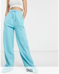 ASOS 4505 Tall Washed Wide Leg Trackies-green - Blue