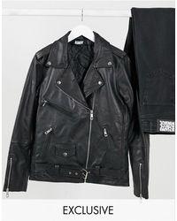 Reclaimed (vintage) Inspired – Oversize-Bikerjacke aus Leder - Schwarz
