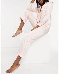 New Look Нежно-розовый Атласный Пижамный Комплект С Длинными Рукавами -розовый Цвет