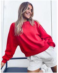 ASOS Красный Комбинируемый Oversize-свитшот В Крупный Рубчик От Комплекта