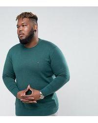 Tommy Hilfiger Plus Crew Neck Sweater Cotton Silk In Green