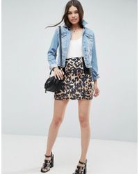 ASOS - Mini Skirt With Side Rib Detail In Animal Print - Lyst