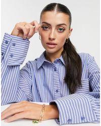 ASOS WFH - Chemise décontractée oversize coupe dad en coton à rayures - marine - Bleu