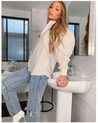 AX Paris Camisa en color crema con mangas globo - Multicolor