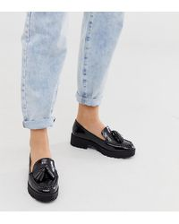 London Rebel - Loafers Met Dikke Zool, Brede Pasvorm En Kwastjes In Zwart - Lyst