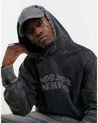 Good For Nothing Hoodie With Diamonte Logo - Grey