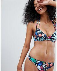 Figleaves Fuller Bust Secret Garden Halter Bikini Top Dd-g Cup - Blue