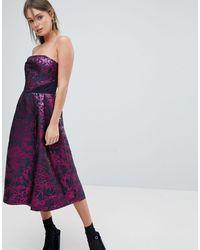 Oasis Bandeau Jacquard Skater Dress - Purple