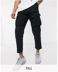 Religion Tall - Pantalon cargo coupe ajustée avec ceinture - Noir